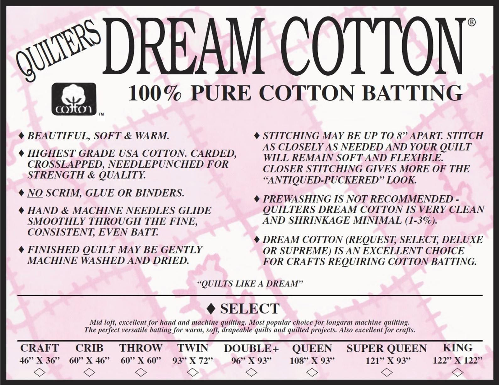Quilters Dream 100% Cotton Natural Select - Mid Loft Batting