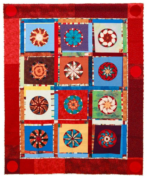 Art Quilts, Non-representational, 3rd Place: 'Our Colors Rock' by Virginia O'Donnell and Val Pellens, quilted by Val Pellens