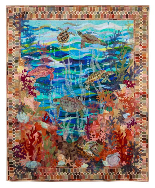 Pictorial Quilts, 1st Place: 'Turtle Bay' by Claudia Pfeil