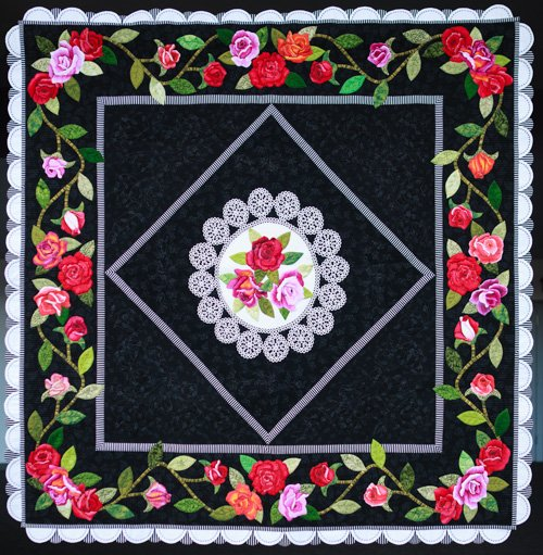 Applique, 3rd Place: 'Vintage Roses' by Barbara Polston, quilted by Terri Doyle