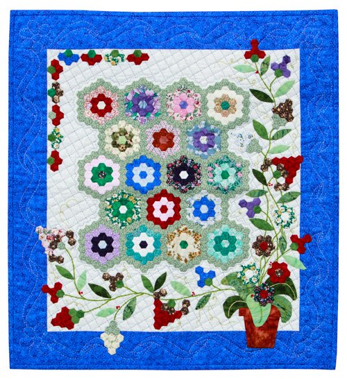 Hand Quilting, 3rd Place: 'Silk Kaleidoscope' by Diana McCorkall