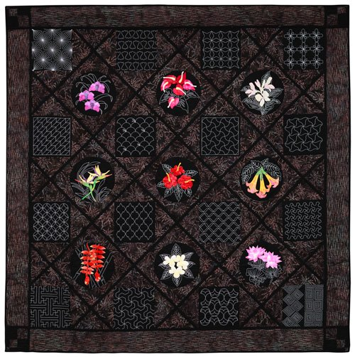 Large Quilts, 3rd Place: 'Sashiko Garden at Midnight' by Lois Alice