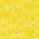 120-7082 yellow/white owl outline