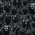 120-7083 black/white owl outline