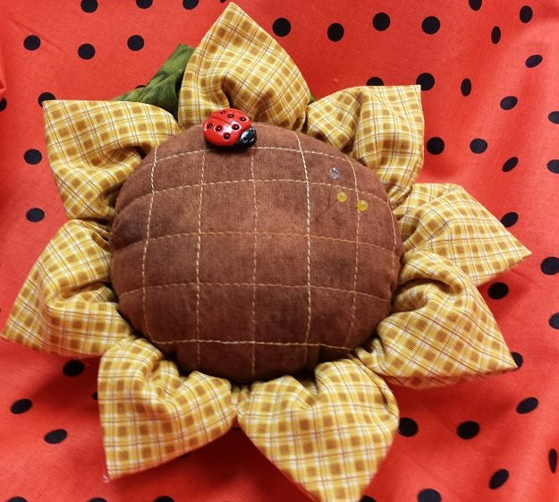 Sunflower petal pin cushion