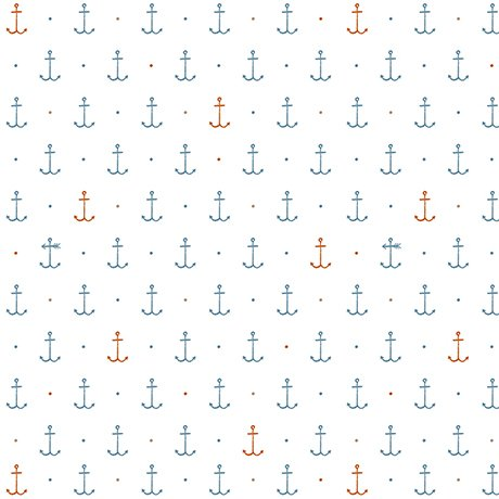 IN DEEP SHIP - BLUE AND RED ANCHORS ON WHITE