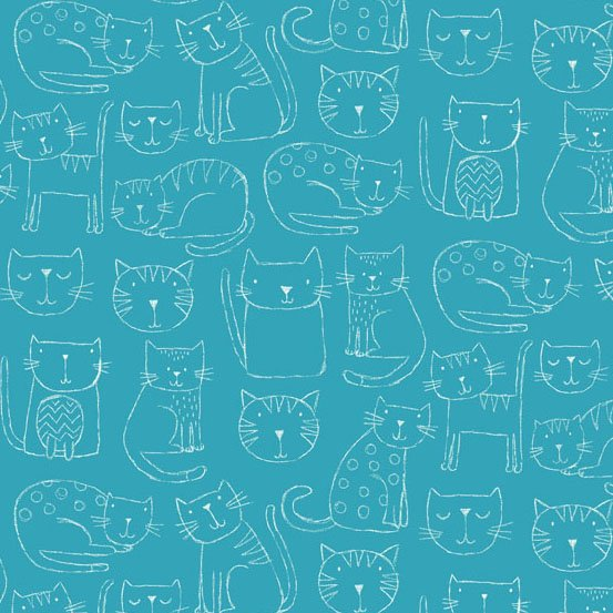 KITTY - SKETCHED KITTIES ON BLUE