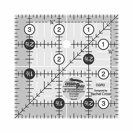 CREATIVE GRIDS QUILT RULER 3.5  SQ