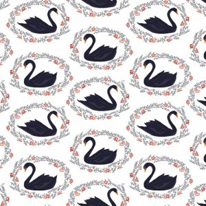 SLEEPING BEAUTY - NAVY SWANS
