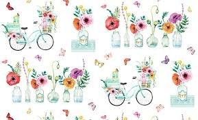 April Showers White Bike/Flowers