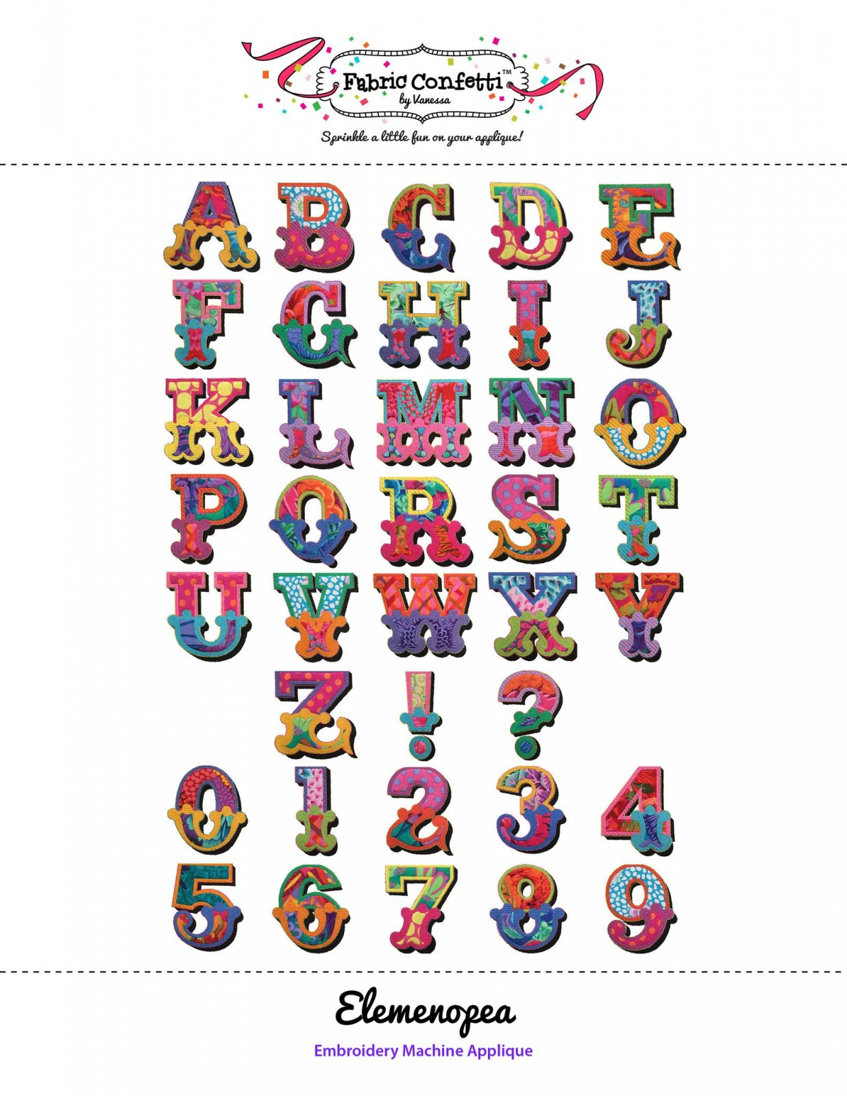 ELEMENOPEA MACHINE APPLIQUE LETTERS