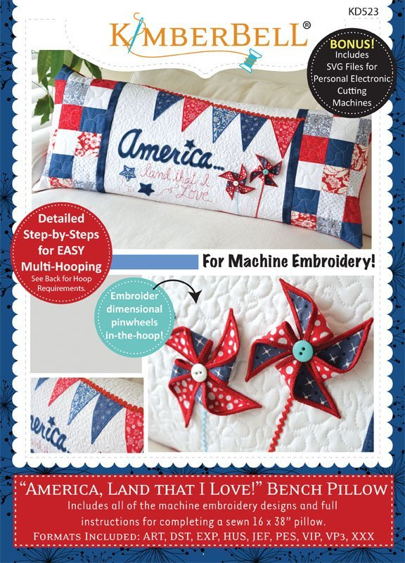 America Land That I Love Bench Pillow Machine Embroidery