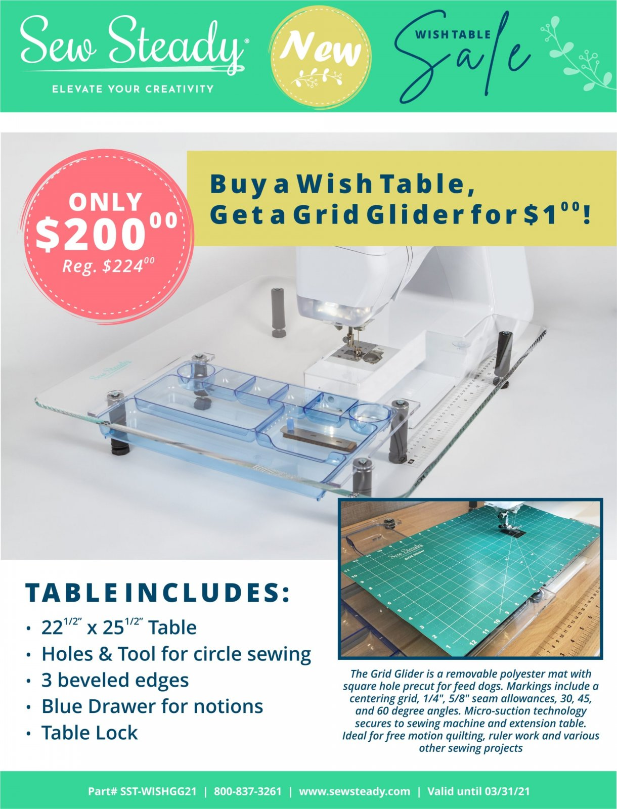 Wish Table with Grid Glider