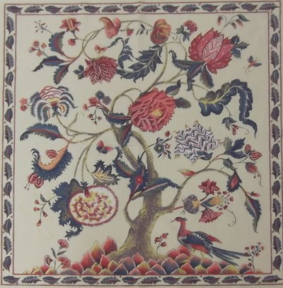 Antique ''Tree of Life'' Panel Ecru