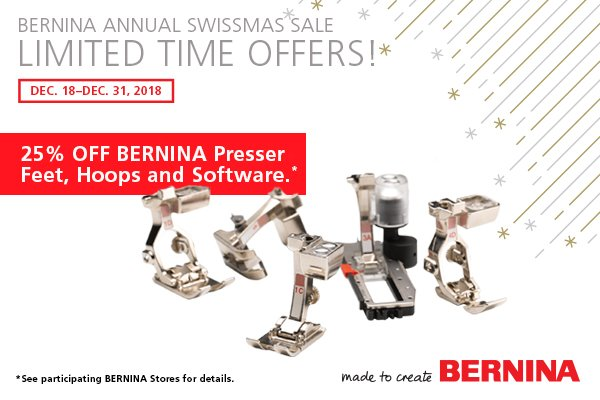Bernina Feet & Accessories 25% off beginning 12/18