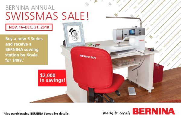 Sewing Table $500 with purchase of select Berninas