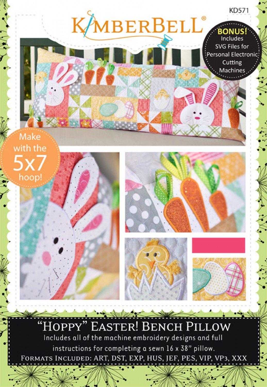 Hoppy Easter Pillows Bench Pillow Machine Embroidery CD