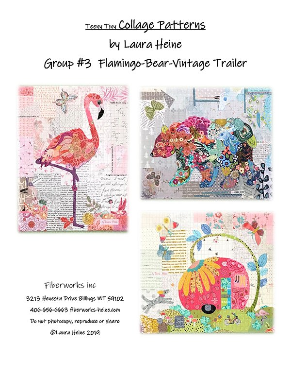 Teeny Tiny Collage #3 - Flamingo Bear and Vintage Trailer by Laura Heine of Fiberworks