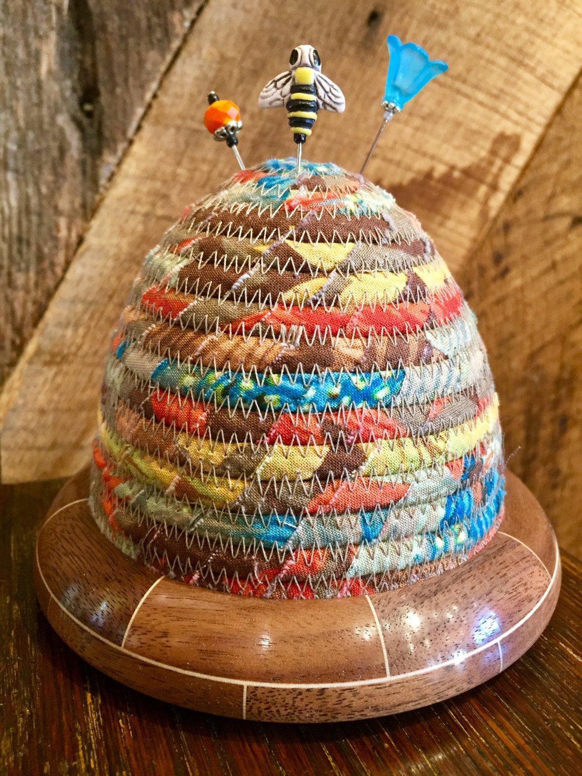 Beehive Pincushion - Kaffe Fassett Cactus Flower Brown Top - Walnut/Maple Base