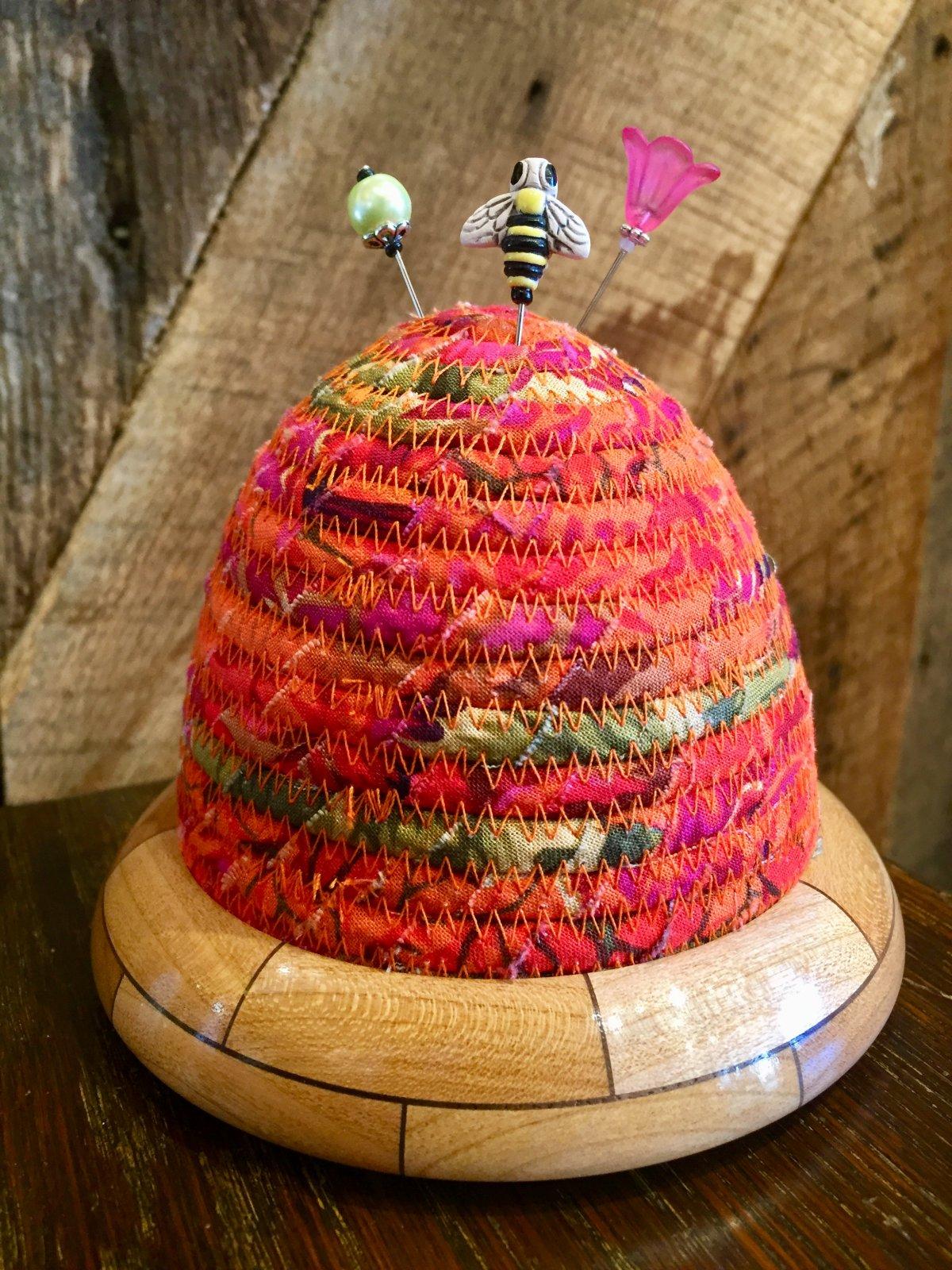 Beehive Pincushion - Kaffe Fassett Brassica Rust - Cherry / Walnut Base