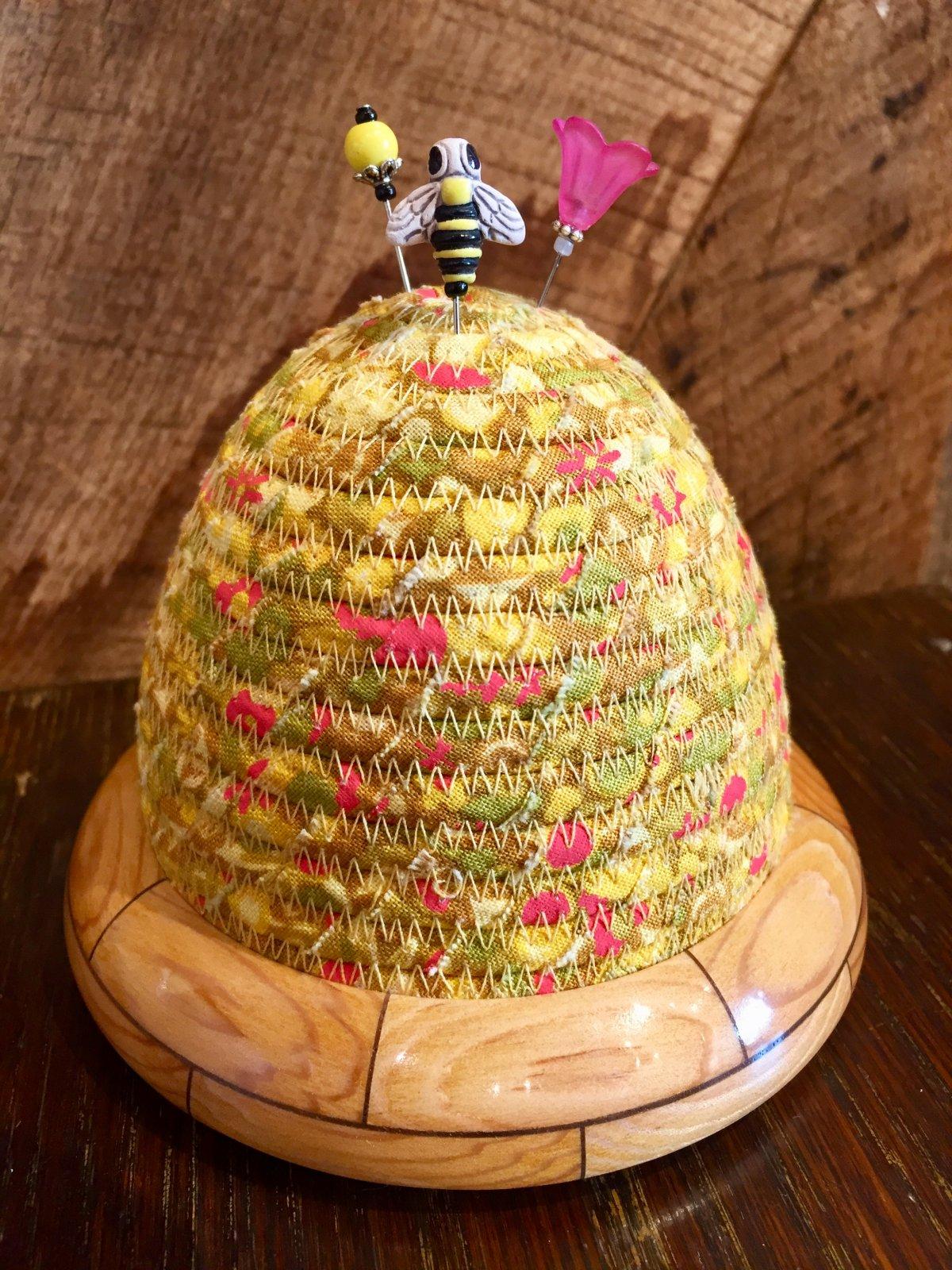 Beehive Pincushion - Sun Print Tuesday - Sunflower - Sugar Pine / Walnut Base