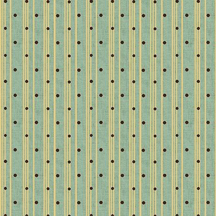 Sage & Sea Glass - Polka Dot Ticking Stripe - Blue