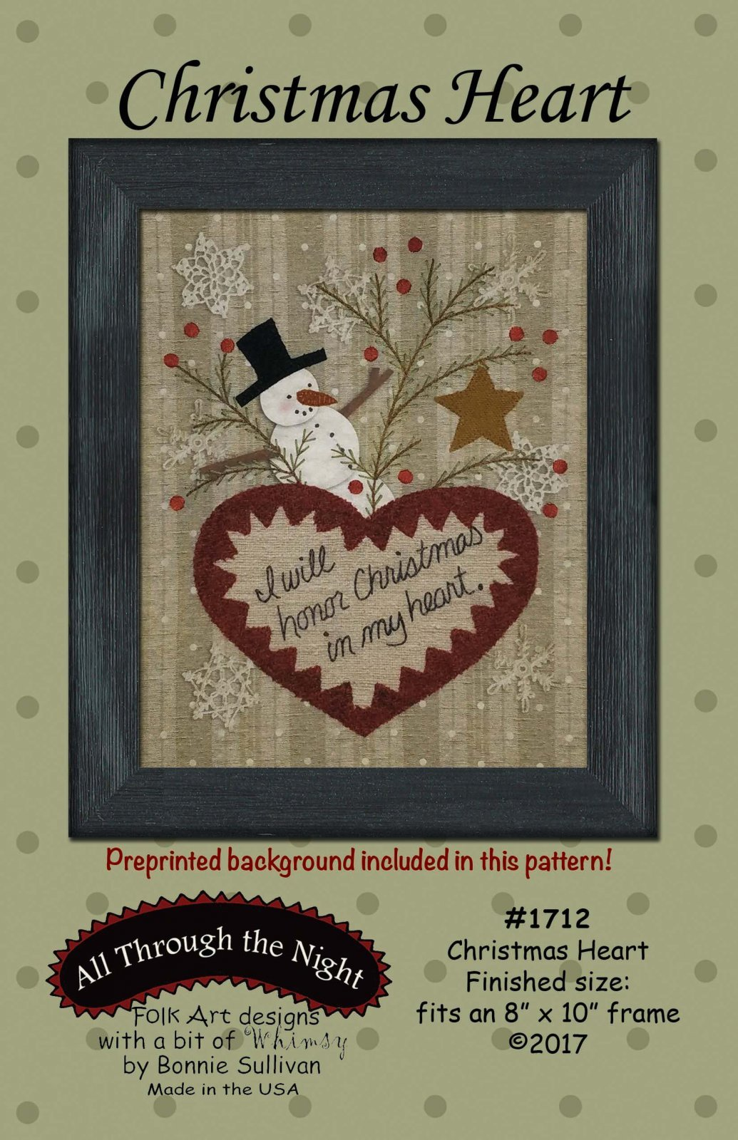 Christmas Heart - Embroidery Kit- 8 x 10