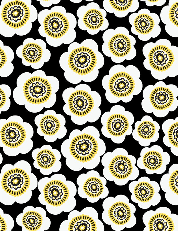 Sunny Days - Packed Daisies - Black