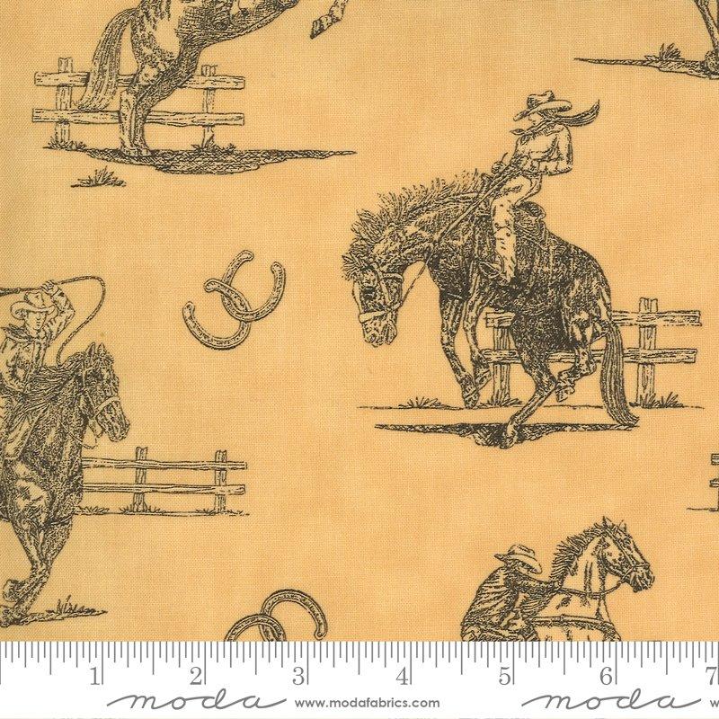 Home On The Range - Sketchbook Page Horses - Burlap