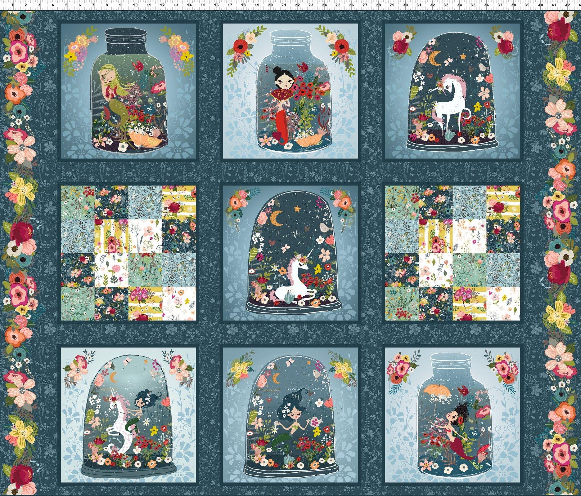 Mermaids and Unicorns by Elena Barenbaum: Panel - Blue/Multi