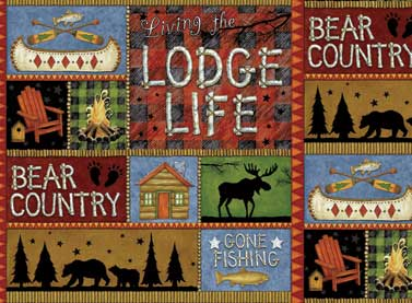 EOB - 35 - Lodge Life Flannel by Red Rooster Patchwork Multi
