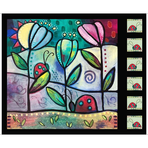 Painterly Garden - Picture Patches - Black - 36 Panel