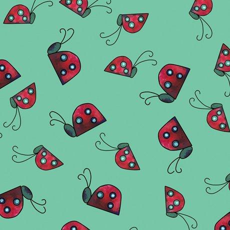 Painterly Garden - Ladybugs - Jade
