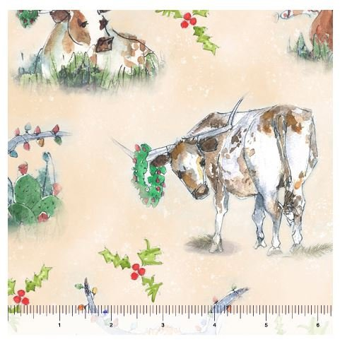 Christmas Longhorns - Tan