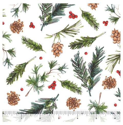Christmas Longhorns - Pine - White