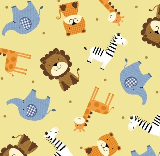Noah's Story - Tossed Animals - mustard