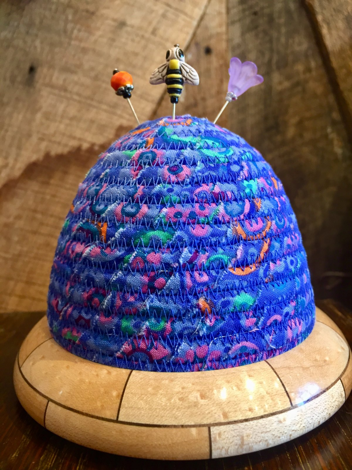 Beehive Pincushion - Kaffe Fassett Paperweight - Blue Top - Birdseye Maple / Walnut Base