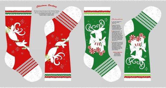 Peppermint Reindeer -stockings- 24 Panel