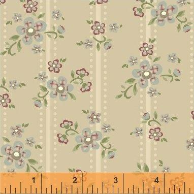 Elm Cottage by L'Atelier Perdu for Windham Fabrics - Tan Floral Stripe