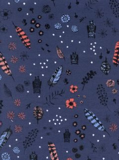 Cotton + Steel Brushed Cotton - Cozy Dream Owl - Night Fabric