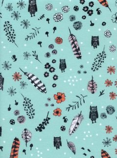 Cotton + Steel - Cozy - Dream Owl Feathers Floral Mint Brushed Cotton