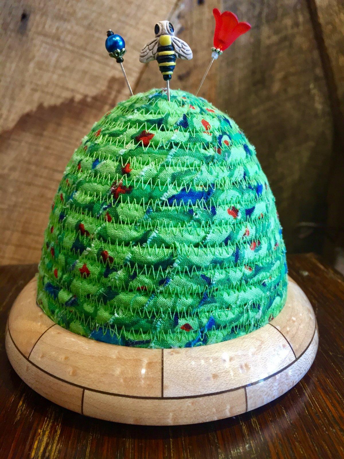 Beehive Pincushion - Kaffe Fassett Button Mosaic - Green Top - Birdseye Maple / Walnut Base