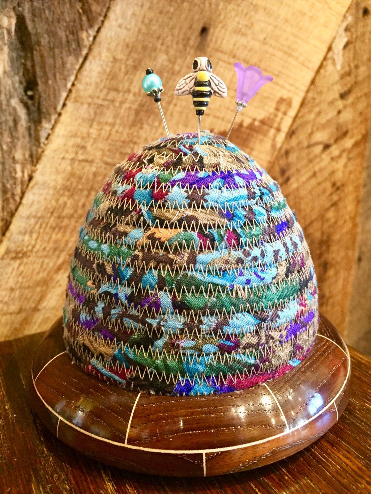 Beehive Pincushion - Kaffe Fassett Feathers Autumn Top - HT Ash / Maple Base