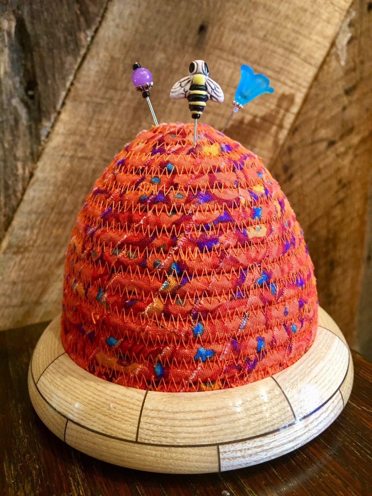 Beehive Pincushion - Kaffe Fassett Button Mosaic Orange Top - Ash / Walnut Base