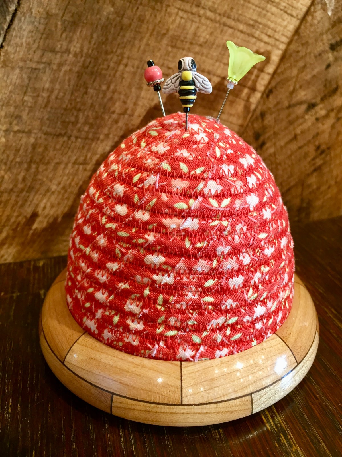 Beehive Pincushion - Fig Tree Strawberries & Rhubarb Meadow - Strawberry Top - Cherry / Walnut Base
