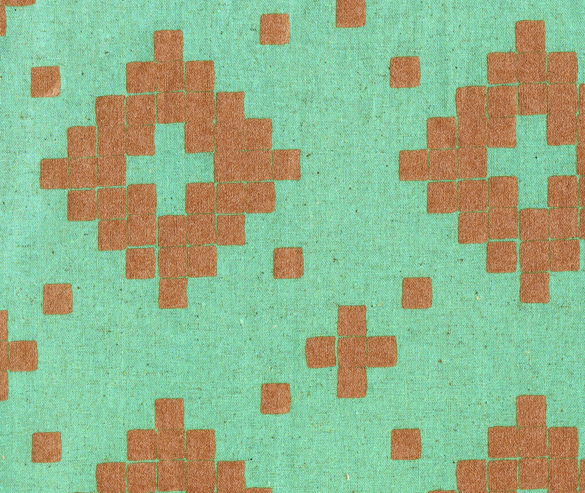 Mesa - Tile - Aqua Canvas Metallic Copper Fabric