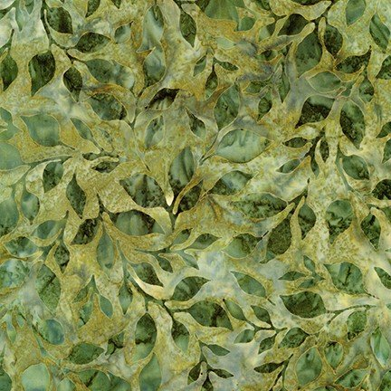 Artisan Batiks: Summer Flowers by Lunn Studios: branch - Green