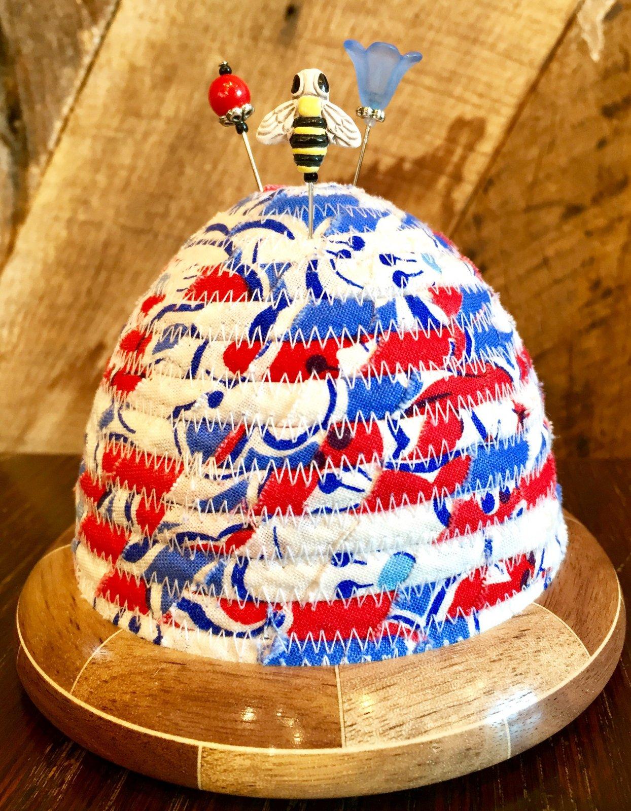 Beehive Pincushion - Bountiful Blue Top - Walnut/Maple Base