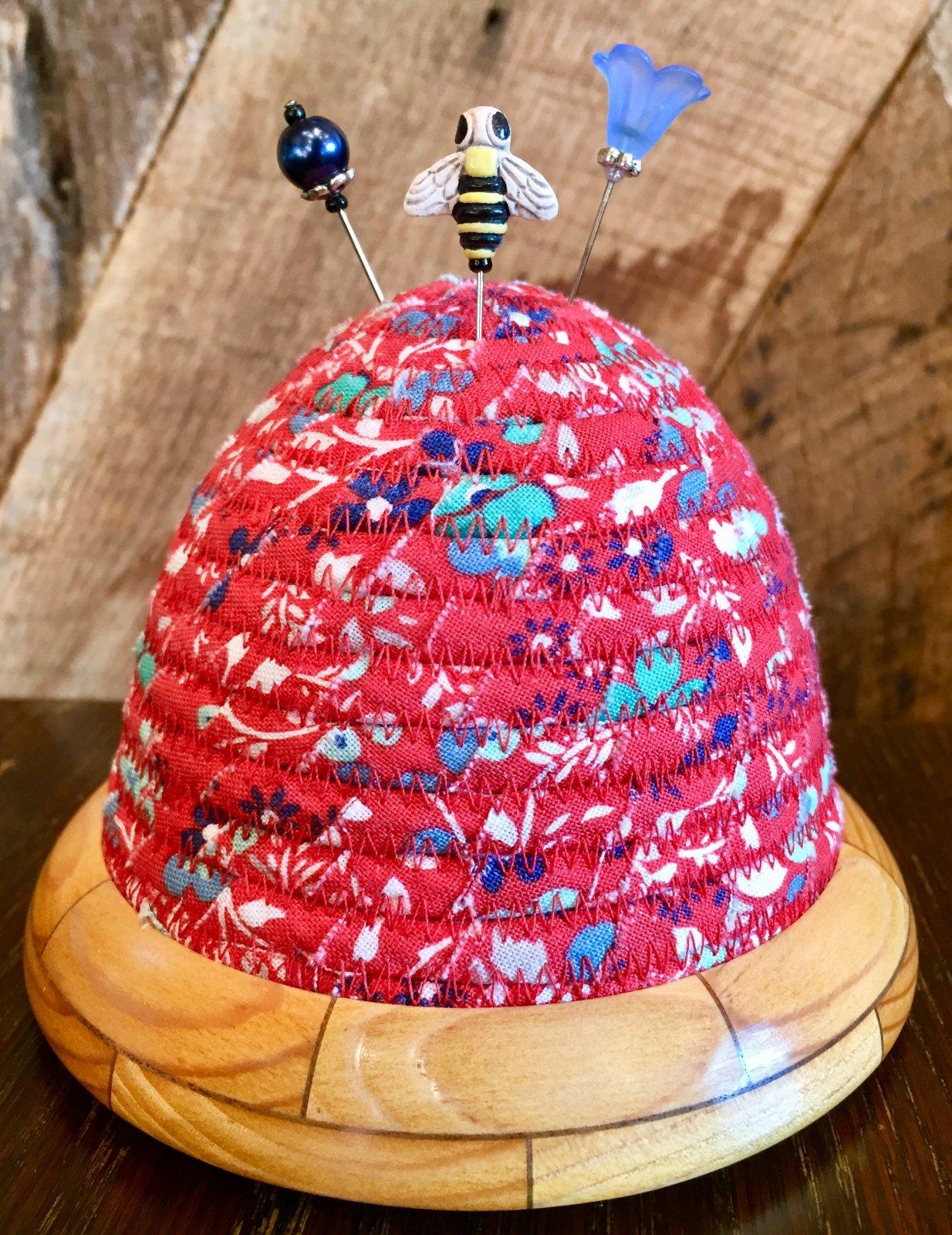 Beehive Pincushion - Backyard Blooms - Red Top - Spruce / Walnut Base