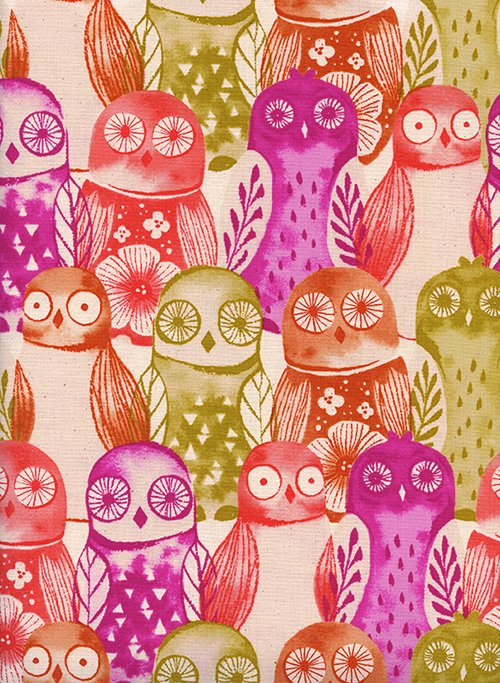 Firelight - Wise Owls - Fuchsia